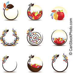 apple concept - Abstract apple fruit concept Isolated on a...