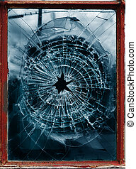 window glass - red window frame with pane of shattered glass...