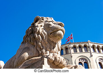 Lion statue near Storting - Lion statue near Norwegian...