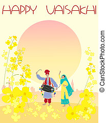 vaisakhi - an illustration of a happy vaisakhi greeting card...