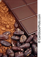 Bar of chocolate, cocoa beans , cocoa powder