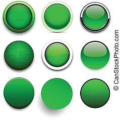 Round green icons. - .Set of blank green round buttons for...