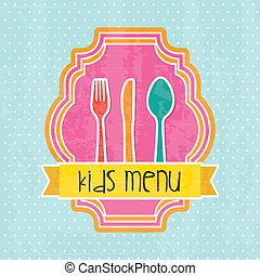 kids menu over blue background vector illustration