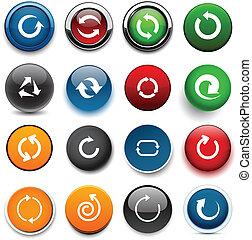 Round color arrow icons. - Set of arrow color round buttons...