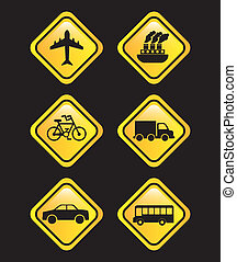 transports signals over black background vector illustration...