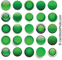 Round green icons. - Set of blank green round buttons for...