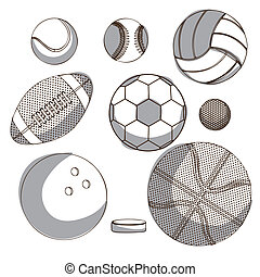 sports balloons over white background vector illustration