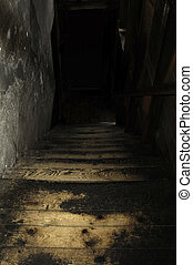 stairway - Darkstairway leads to second floor of cotton...