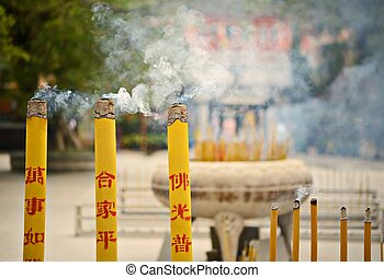 Lantau Island Temple - Incense burn at a temple on Lantau...