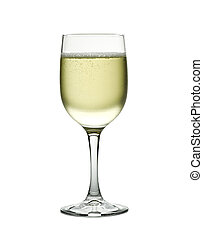 Wineglass with sparkling white wine. Concept and idea -...