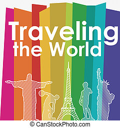 traveling the world over colorful background vector...
