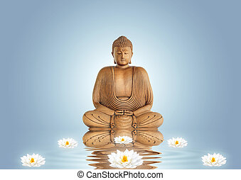 Buddha and Lily Flowers - Buddha in meditation and white...