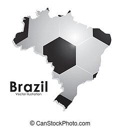 soccer brazilian over white background vector illustration