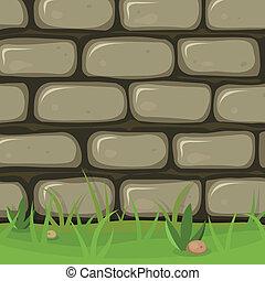 caricatura, rural, piedra, pared