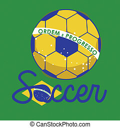 soccer brazilian over green background vector illustration