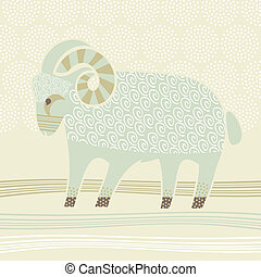 Decorative Ram - Decorative illustration of the Ram zodiac...