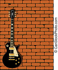 Rock Guitar Wall - A Gibson Les Paul type guitar in front of...