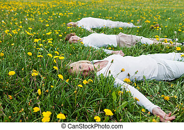 family lying on grassy field - family lying outstretched on...
