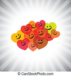 colorful happy smiling kids as hearts- simple vector...