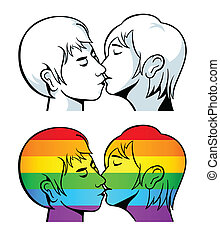 Gay kiss - Kissing young couple contour and over gay pride...
