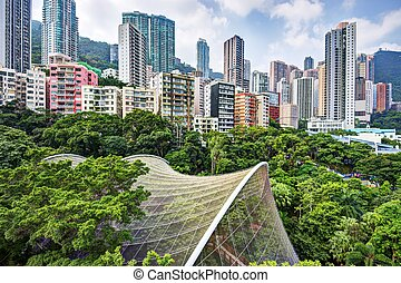 Hong Kong Park - High rise apartments above Hong Kong Park...