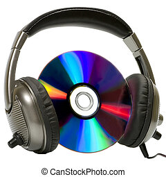 Headphones on music disk CD, DVD on white backgroundon