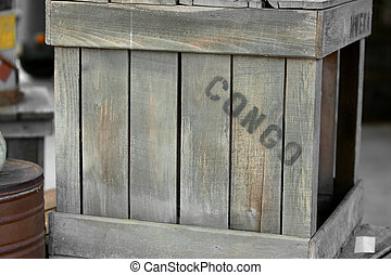 Congo wooden crate - a wooden slatted crate on the way to or...