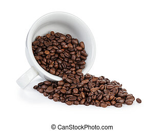 coffee cup full of bean inverted, isolated on white