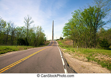Two-lane Road - A two-lane road through a rural area.