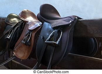 saddle horse - leather saddle horse close up detail