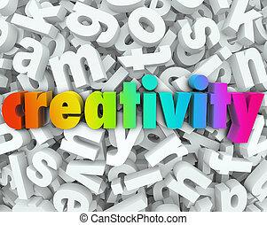 創造性, 想象, 3D, 信, 詞, 背景, 創造性, Thinki