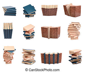 old books - Set of a stack of old books isolated on a white...