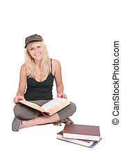 college student studying - one blonde attractive college...
