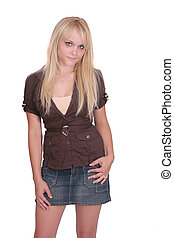 half length blonde portrait - one attractive thin beautiful...