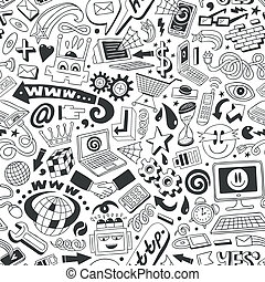 web doodles seamless background