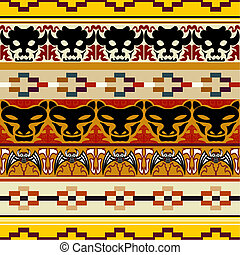 Seamless pattern with animal heads
