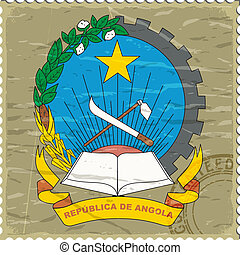 Coat of arms of  Angola on the old postage stamp