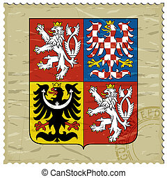 Coat of arms of  Czech Republic on the old postage stamp
