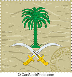 Coat of arms of  Saudi Arabia  on the old postage stamp
