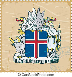 Coat of arms of  Iceland on the old postage stamp