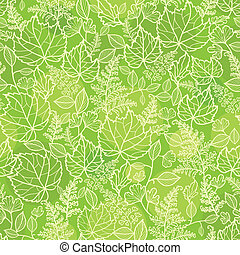 Green leaves lineart texture seamless pattern background -...