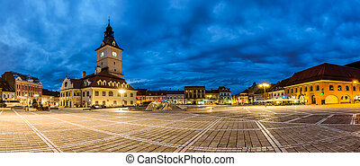 Panoramic view of Council Square in Brasov night view -...