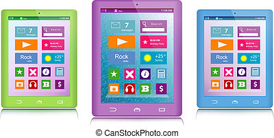Set of color tablet computers - Set of green, purple and...