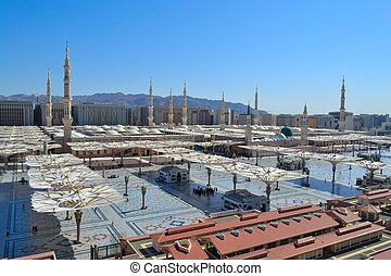 prophet Mosque in Medina at noon - prophet Mosque in Medina...