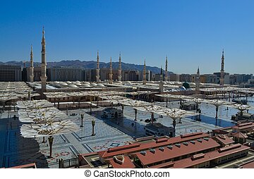 Nabawi Mosque at daylight closeup - Nabawi Mosque in Medina...