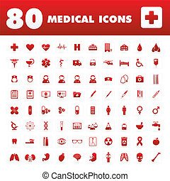 80 Medical icons - A set of eighty unique icons with medical...