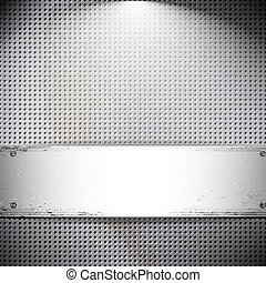 Round cell metal background. Vector card.