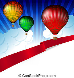 Background white clouds on blue sky and colorful hot air balloons.