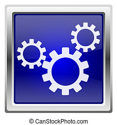 Blue shiny icon - Metallic shiny icon with white design on...