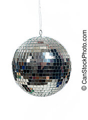Silver, mirrored Disco ball on white - A silver mirrored...
